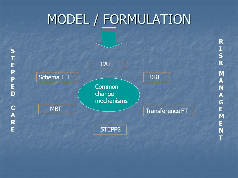 MODEL / FORMULATION Common change mechanisms CAT Schema F T DBT Transference FT MBT STEPPS STEPPED CARE STEPPED CARE RISKMANAGEMENTRISKMANAGEMENT