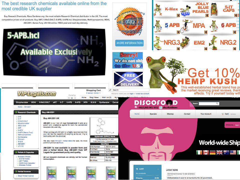 ONLINE SALES OF NPS (Legal Highs) Jan 2010 : 170 Online Shops Jan 2011: 314 Online Shops Jan 2012: 639 Online Shops March 2013 : ??.