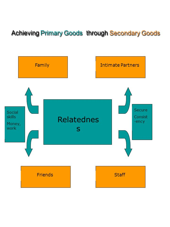 Achieving Primary Goods through Secondary Goods Relatednes s Friends Intimate Partners Staff Family Social skills Money, work Secure Consist -ency