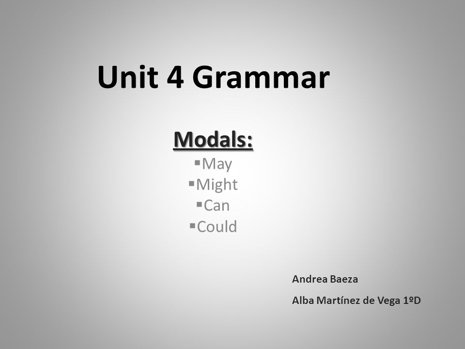 Unit 4 Grammar Modals:  May  Might  Can  Could Andrea Baeza Alba Martínez de Vega 1ºD
