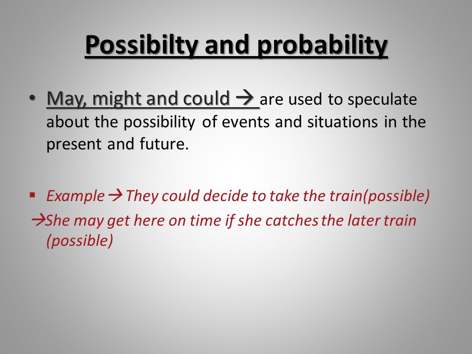 May, might and could + have + past participle May, might and could + have + past participle are used to speculate about events and situations in the past.