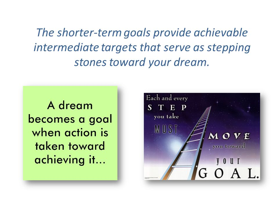 The shorter-term goals provide achievable intermediate targets that serve as stepping stones toward your dream.