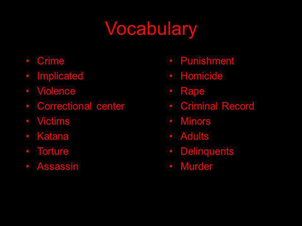 Vocabulary Crime Implicated Violence Correctional center Victims Katana Torture Assassin Punishment Homicide Rape Criminal Record Minors Adults Delinquents Murder