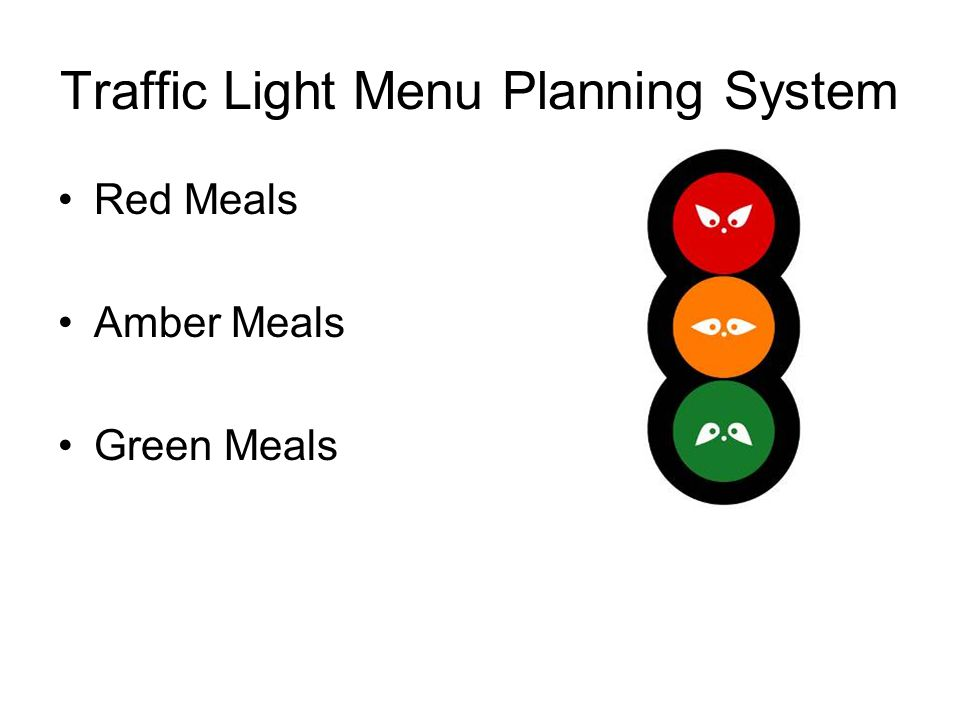 Traffic Light Menu Planning System Red Meals Amber Meals Green Meals