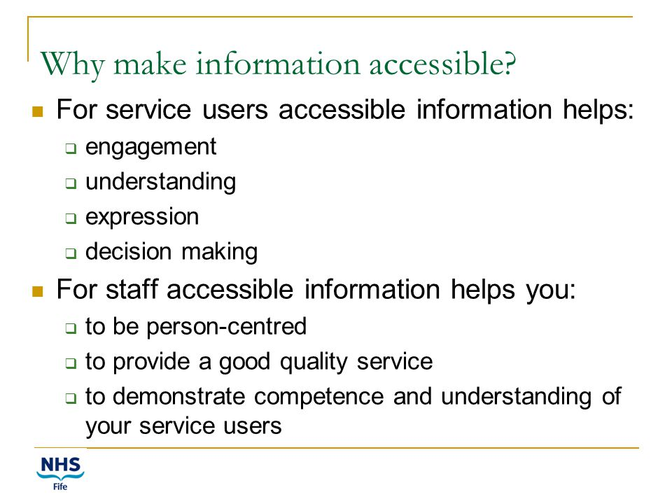 Why make information accessible.