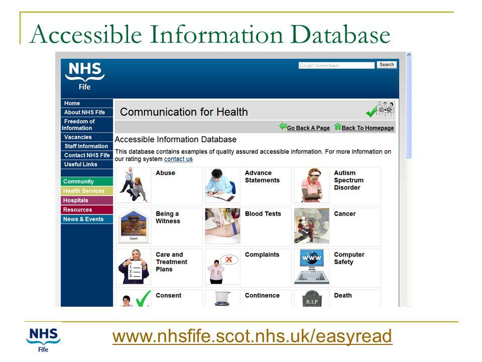 Accessible Information Database www.nhsfife.scot.nhs.uk/easyread