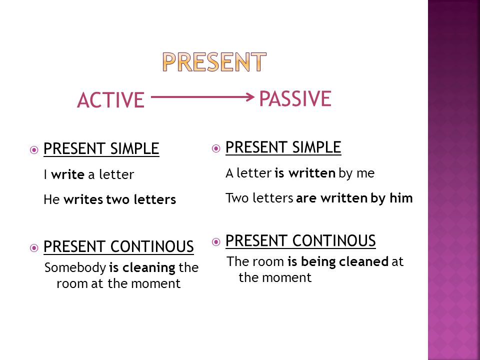 ACTIVE  PRESENT SIMPLE I write a letter He writes two letters  PRESENT CONTINOUS Somebody is cleaning the room at the moment PASSIVE  PRESENT SIMPL