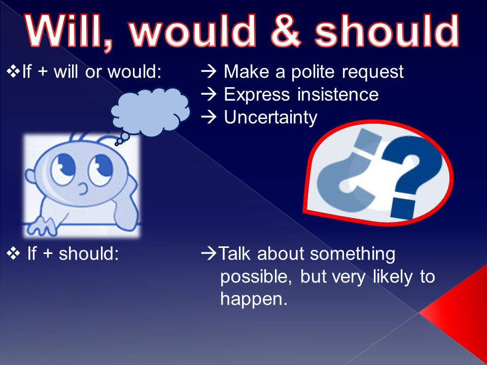  If + will or would:  Make a polite request  Express insistence  Uncertainty  If + should:  Talk about something possible, but very likely to happen.