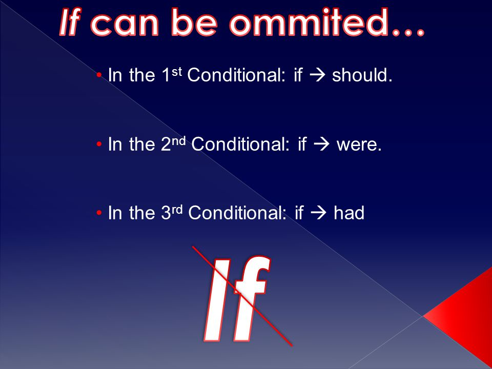 In the 1 st Conditional: if  should. In the 2 nd Conditional: if  were.
