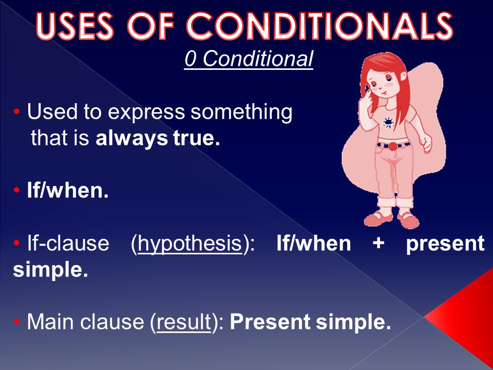 0 Conditional Used to express something that is always true.
