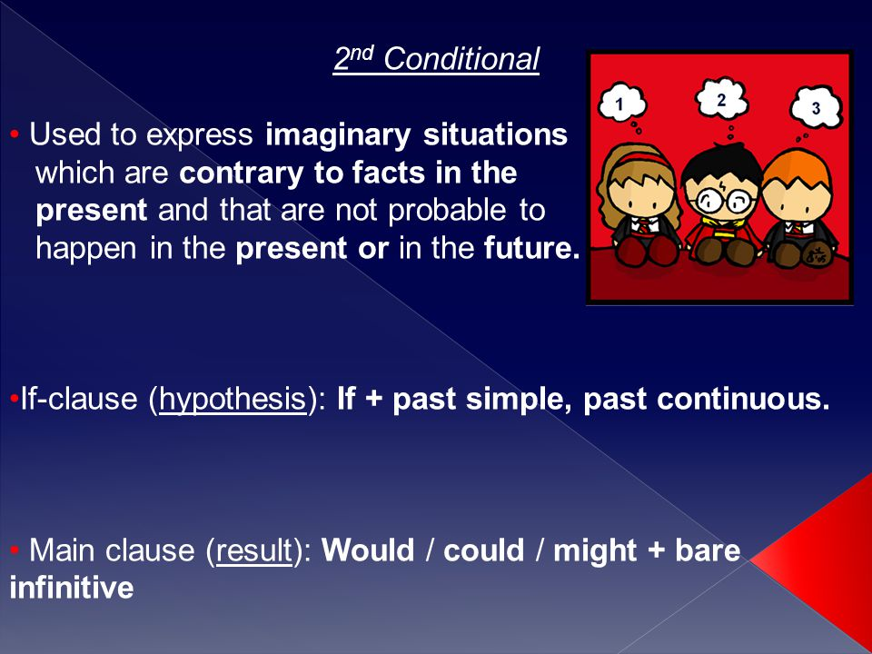 2 nd Conditional Used to express imaginary situations which are contrary to facts in the present and that are not probable to happen in the present or in the future.