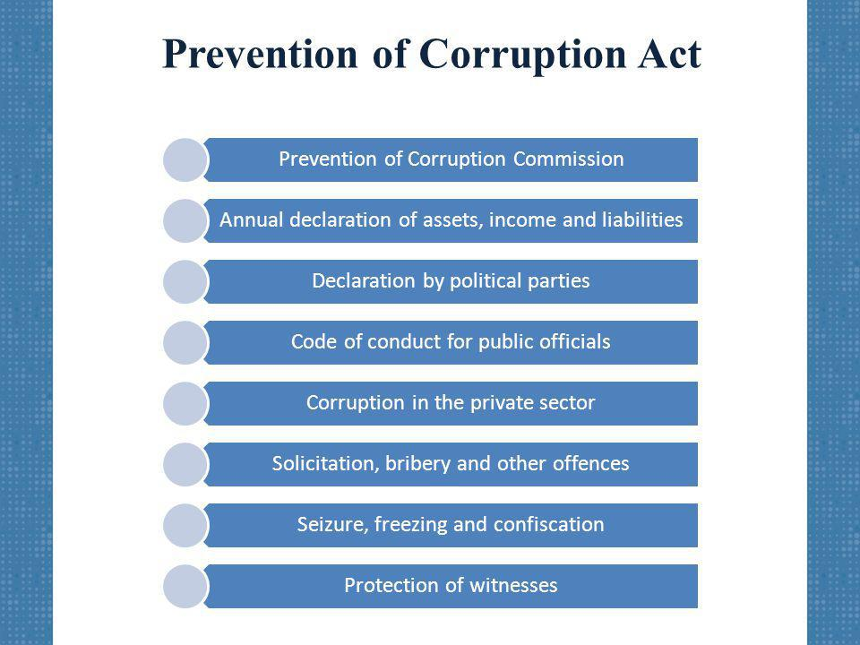 Prevention of Corruption Act Prevention of Corruption Commission Annual declaration of assets, income and liabilities Declaration by political parties Code of conduct for public officials Corruption in the private sector Solicitation, bribery and other offences Seizure, freezing and confiscation Protection of witnesses
