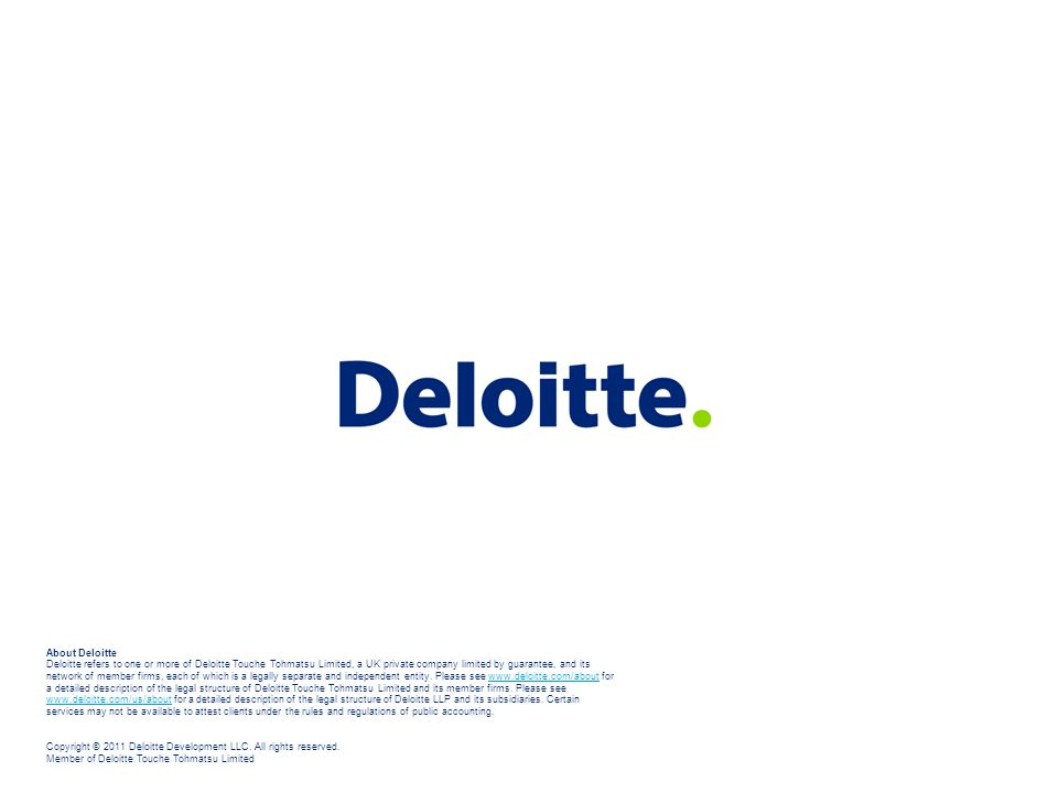 About Deloitte Deloitte refers to one or more of Deloitte Touche Tohmatsu Limited, a UK private company limited by guarantee, and its network of membe