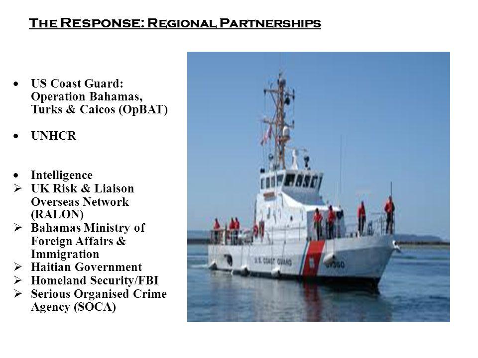 The Response : Regional Partnerships  US Coast Guard: Operation Bahamas, Turks & Caicos (OpBAT)  UNHCR  Intelligence  UK Risk & Liaison Overseas Network (RALON)  Bahamas Ministry of Foreign Affairs & Immigration  Haitian Government  Homeland Security/FBI  Serious Organised Crime Agency (SOCA)