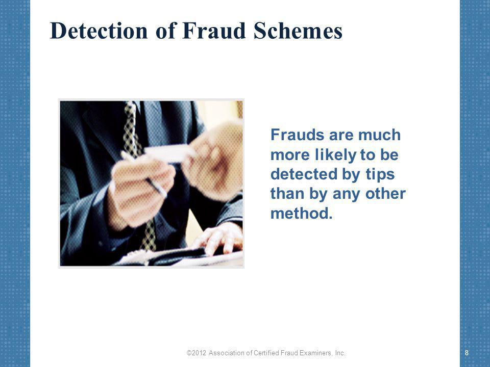 8 Frauds are much more likely to be detected by tips than by any other method.