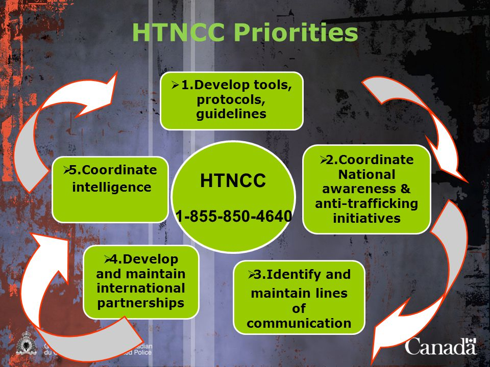 HTNCC Priorities HTNCC 1-855-850-4640  3.Identify and maintain lines of communication  5.Coordinate intelligence  4.Develop and maintain international partnerships  1.Develop tools, protocols, guidelines  2.Coordinate National awareness & anti-trafficking initiatives