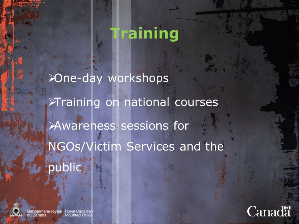 Training  One-day workshops  Training on national courses  Awareness sessions for NGOs/Victim Services and the public