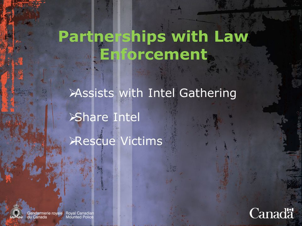 National Threat Assessment  Assess the situation in Canada  Identify criminal organizations involved in HT  Identify high risk areas  Identify links, trends and intelligence gaps  Justification to conduct intelligence probes  Assist managers in prioritizing operations