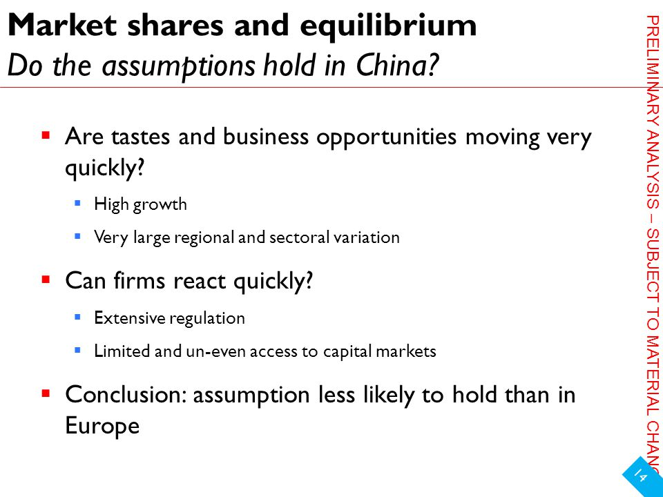 PRELIMINARY ANALYSIS – SUBJECT TO MATERIAL CHANGE Market shares and equilibrium Do the assumptions hold in China.