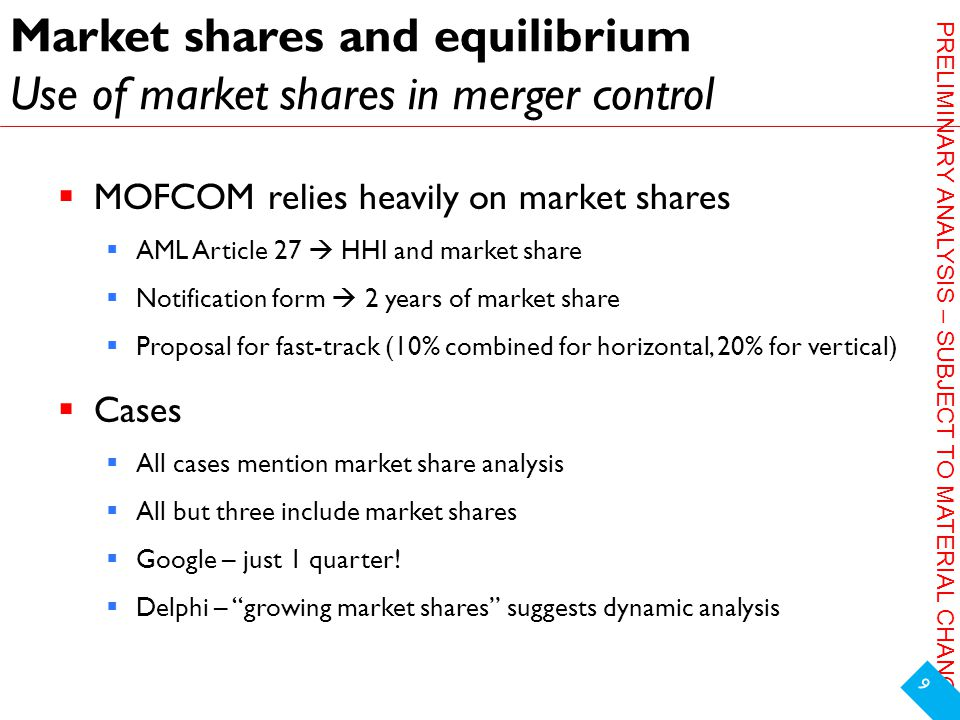 PRELIMINARY ANALYSIS – SUBJECT TO MATERIAL CHANGE Market shares and equilibrium Use of market shares in merger control  MOFCOM relies heavily on market shares  AML Article 27  HHI and market share  Notification form  2 years of market share  Proposal for fast-track (10% combined for horizontal, 20% for vertical)  Cases  All cases mention market share analysis  All but three include market shares  Google – just 1 quarter.
