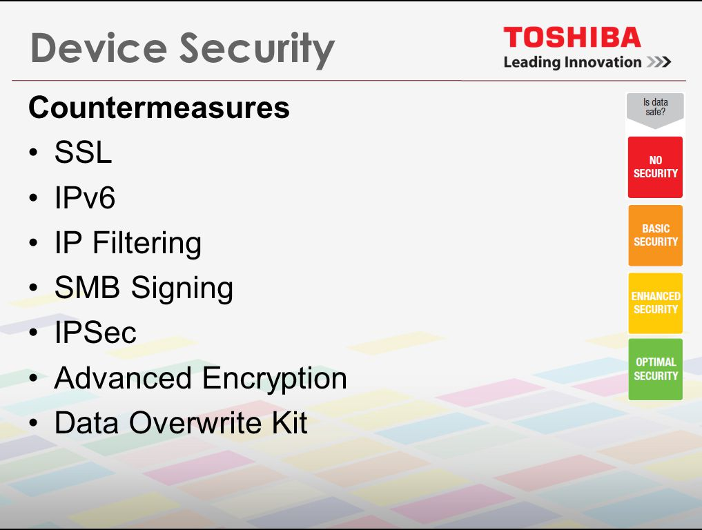 Device Security Countermeasures SSL IPv6 IP Filtering SMB Signing IPSec Advanced Encryption Data Overwrite Kit