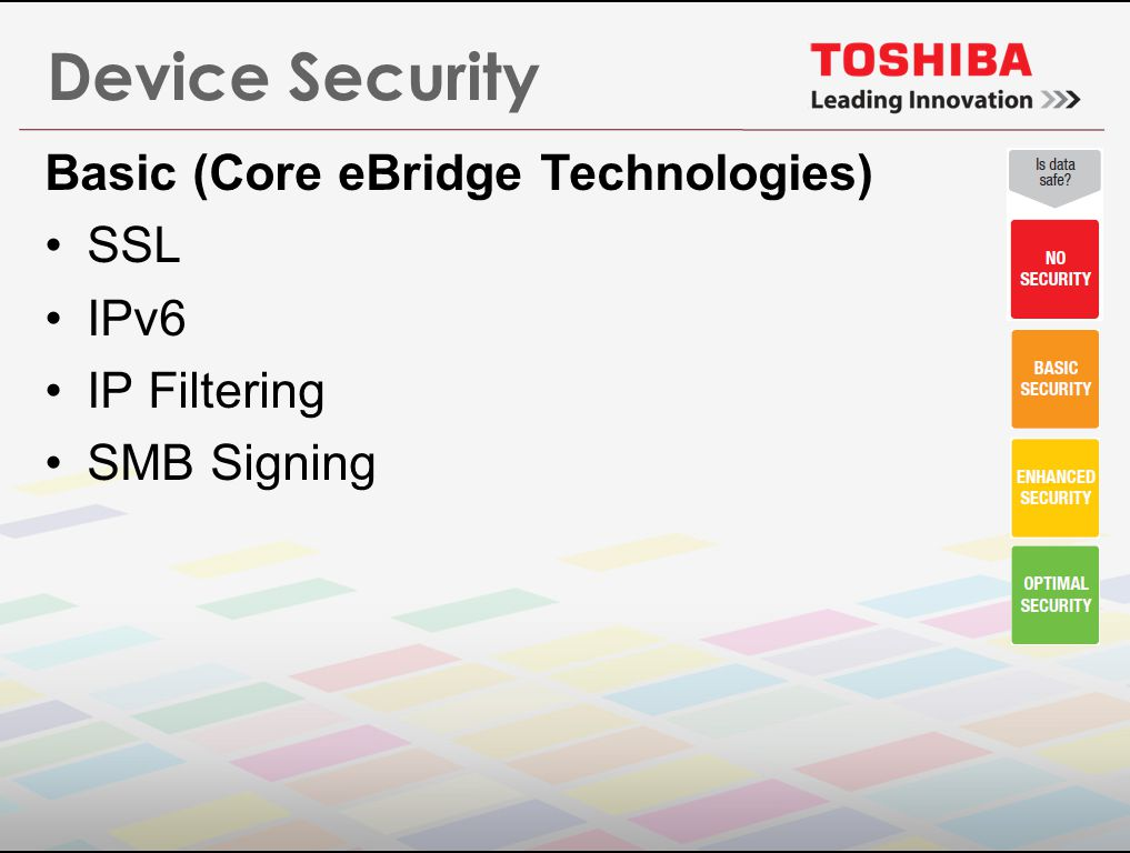 Device Security Basic (Core eBridge Technologies) SSL IPv6 IP Filtering SMB Signing