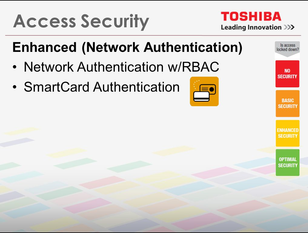 Access Security Enhanced (Network Authentication) Network Authentication w/RBAC SmartCard Authentication