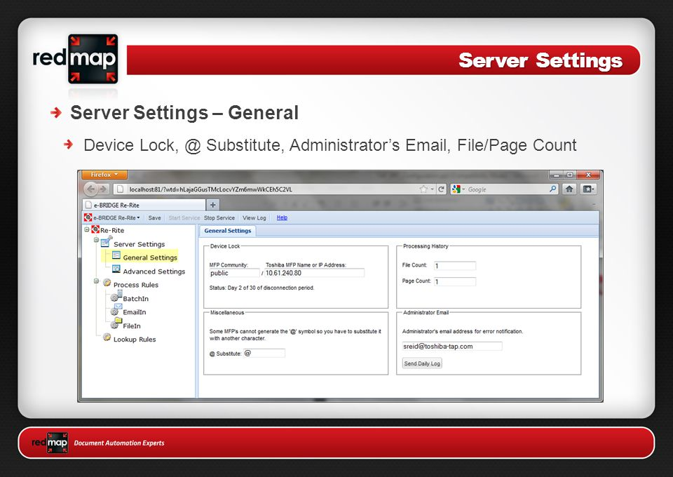 Server Settings Server Settings – General Device Lock, @ Substitute, Administrator's Email, File/Page Count
