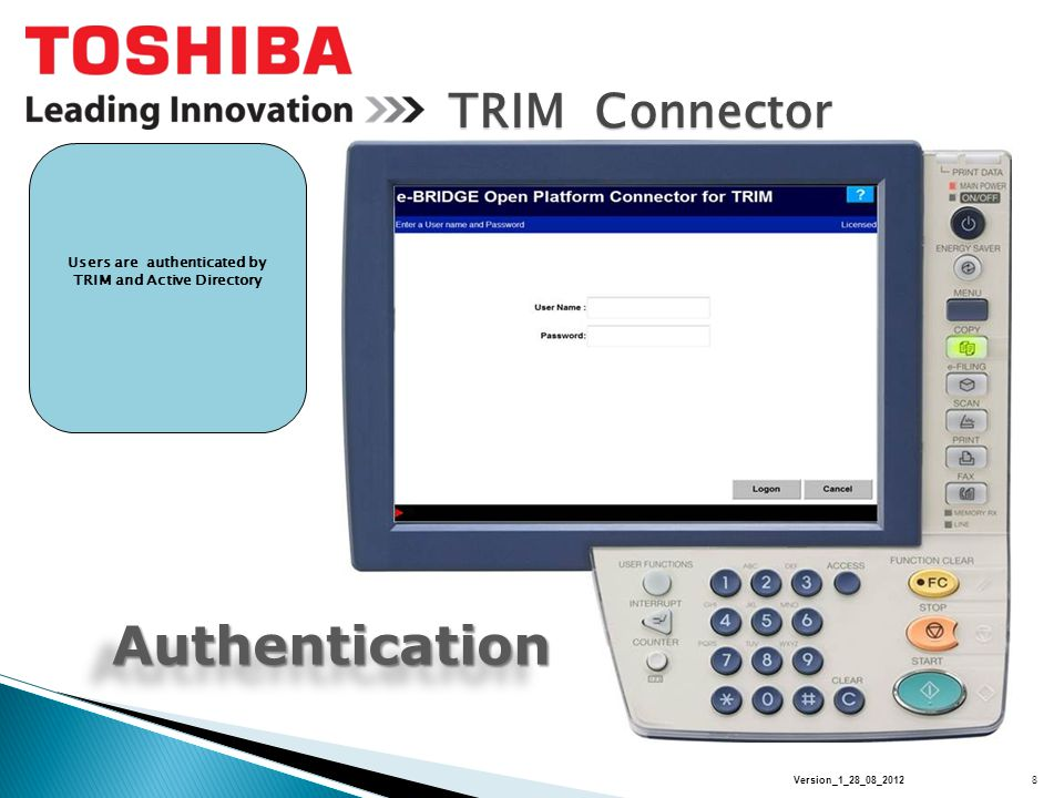 TRIM Connector Scan Profiles User can select from up to six predefined one touch controls to simplify work flow Profile Scan settings are conveniently displayed Users can also edit existing profiles 9Version_1_28_08_2012