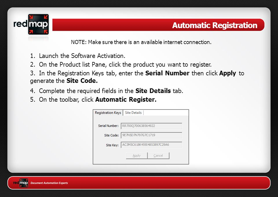 Automatic Registration 1.Launch the Software Activation.