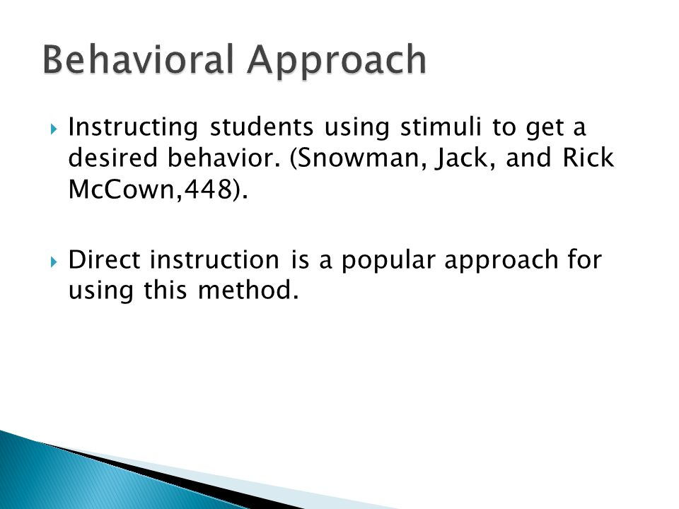 OBSERVING BEHAVIORAL APPROACHES IN CLASS OBSERVATION  In Dr.
