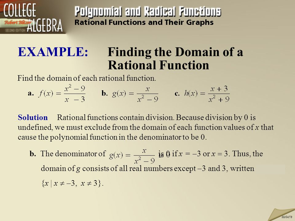 EXAMPLE: Finding the Domain of a Rational Function Solution Rational functions contain division. Because division by 0 is undefined, we must exclude f