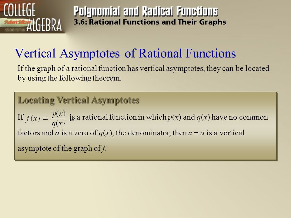 Vertical Asymptotes of Rational Functions If the graph of a rational function has vertical asymptotes, they can be located by using the following theo