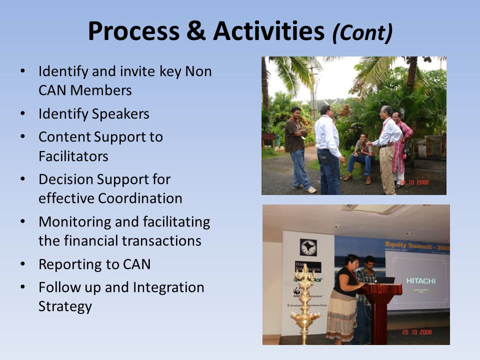 Objectives of Equity Summit To move forward to a common understanding of what equity requires in the context of responses to climate change around the world.
