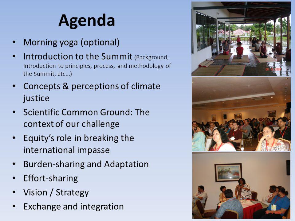 Agenda Methodology Plenary Breakup Groups Working Groups Back to Back bilateral meetings Small group meetings Social evenings Story Telling Musical evenings Etc...