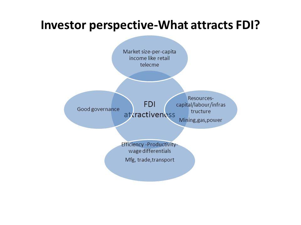 Investor perspective-What attracts FDI? FDI attractiveness Market size-per- capita income like retail telecme Resources- capital/labour/infras tructur