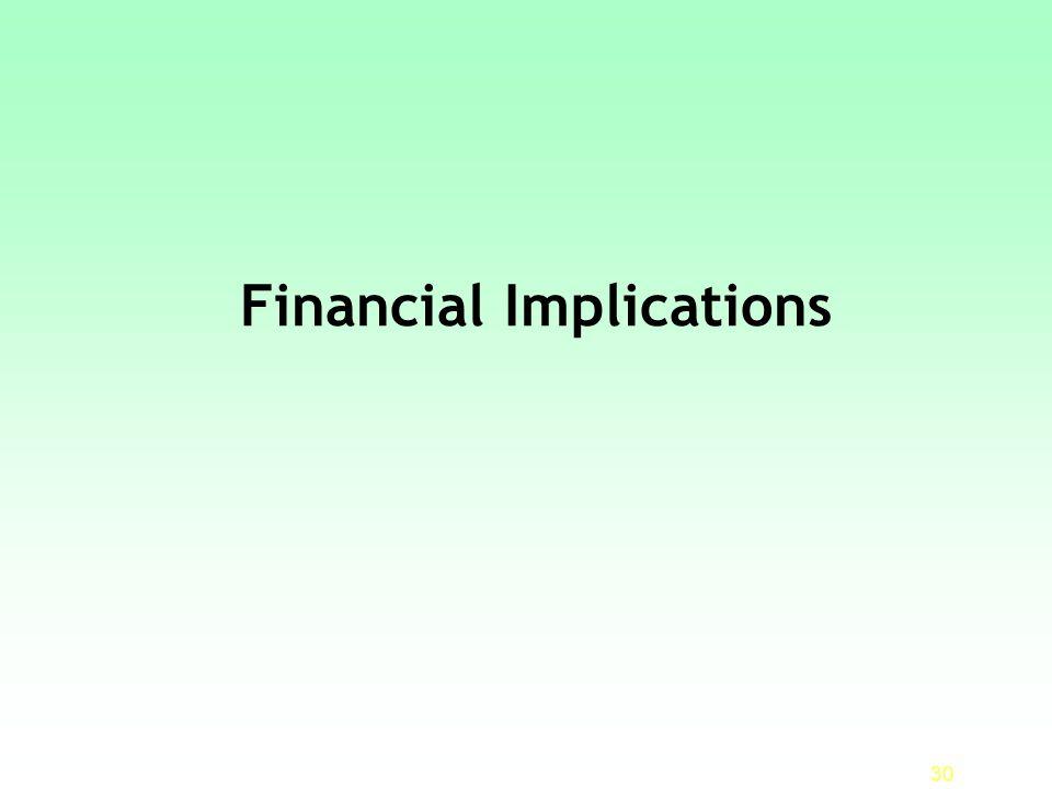 Financial Implications 30