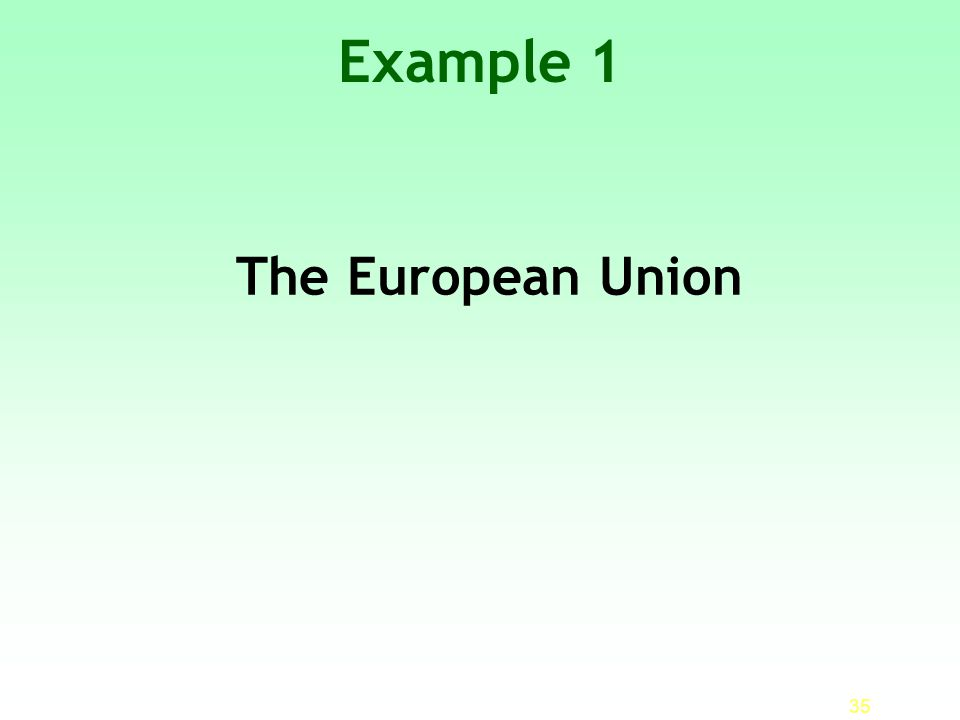 Example 1 The European Union 35