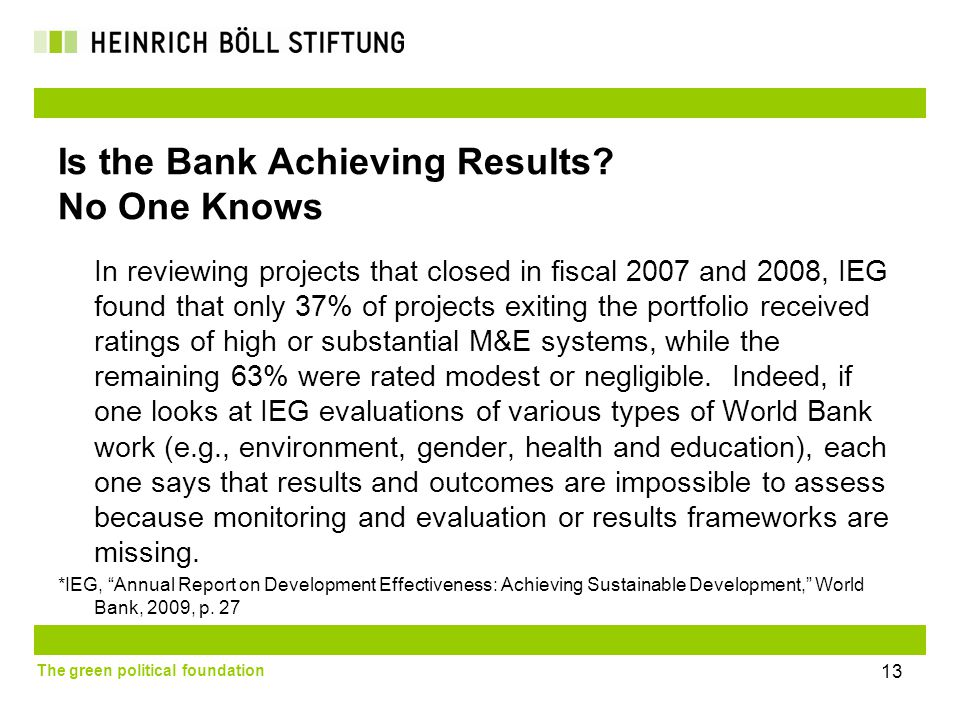 The green political foundation 13 Is the Bank Achieving Results.