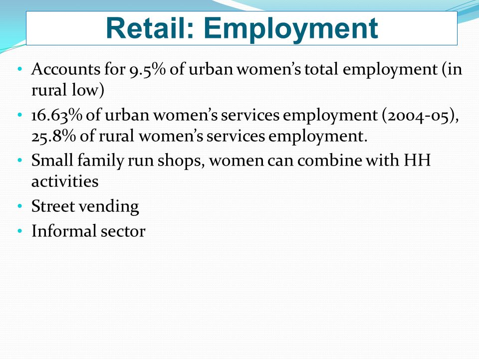 Retail: Employment Accounts for 9.5% of urban women's total employment (in rural low) 16.63% of urban women's services employment (2004-05), 25.8% of rural women's services employment.