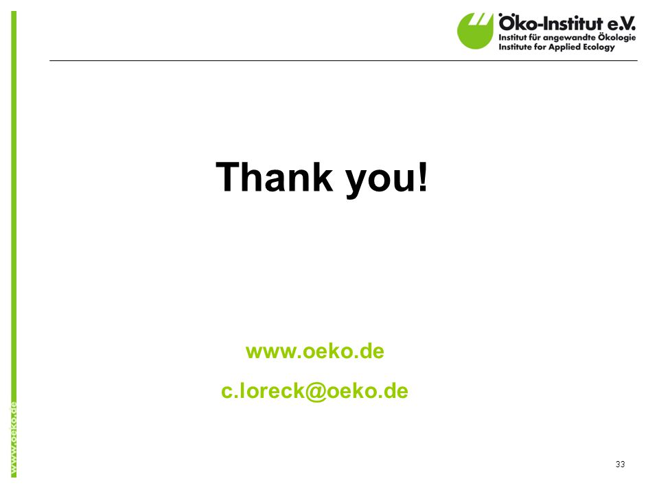 Thank you! www.oeko.de c.loreck@oeko.de 33