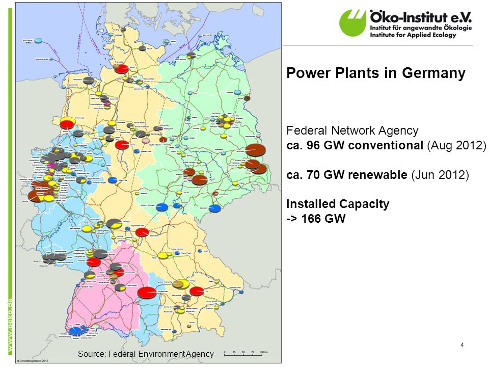 4 Power Plants in Germany Federal Network Agency ca. 96 GW conventional (Aug 2012) ca. 70 GW renewable (Jun 2012) Installed Capacity -> 166 GW Source: