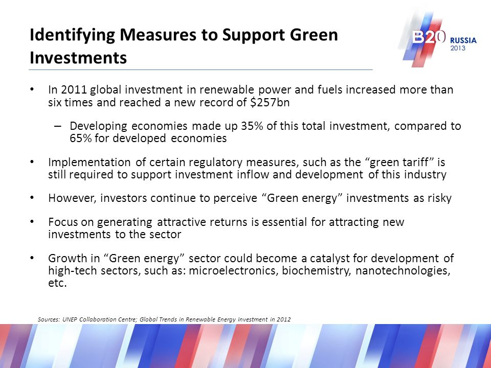 Identifying Measures to Support Green Investments In 2011 global investment in renewable power and fuels increased more than six times and reached a new record of $257bn – Developing economies made up 35% of this total investment, compared to 65% for developed economies Implementation of certain regulatory measures, such as the green tariff is still required to support investment inflow and development of this industry However, investors continue to perceive Green energy investments as risky Focus on generating attractive returns is essential for attracting new investments to the sector Growth in Green energy sector could become a catalyst for development of high-tech sectors, such as: microelectronics, biochemistry, nanotechnologies, etc.
