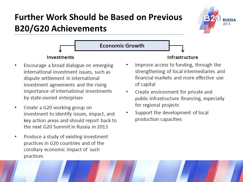 Further Work Should be Based on Previous B20/G20 Achievements Improve access to funding, through the strengthening of local intermediaries and financial markets and more effective use of capital Create environment for private and public infrastructure financing, especially for regional projects Support the development of local production capacities Encourage a broad dialogue on emerging international investment issues, such as dispute settlement in international investment agreements and the rising importance of international investments by state-owned enterprises Create a G20 working group on investment to identify issues, impact, and key action areas and should report back to the next G20 Summit in Russia in 2013 Produce a study of existing investment practices in G20 countries and of the corollary economic impact of such practices InvestmentsInfrastructure Economic Growth