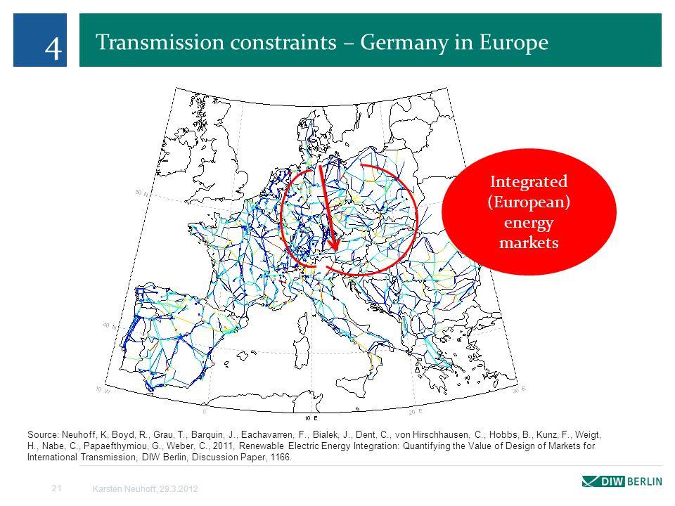 Transmission constraints – Germany in Europe 4 Karsten Neuhoff, 29.3.2012 21 Source: Neuhoff, K, Boyd, R., Grau, T., Barquin, J., Eachavarren, F., Bialek, J., Dent, C., von Hirschhausen, C., Hobbs, B., Kunz, F., Weigt, H., Nabe, C., Papaefthymiou, G., Weber, C., 2011, Renewable Electric Energy Integration: Quantifying the Value of Design of Markets for International Transmission, DIW Berlin, Discussion Paper, 1166.