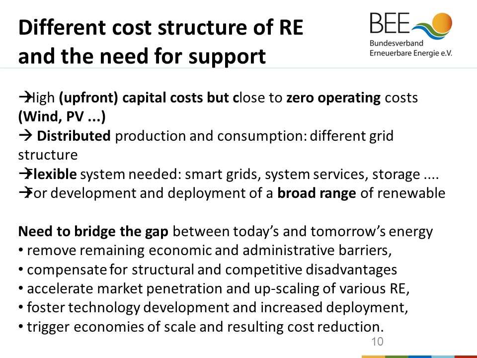 10  High (upfront) capital costs but close to zero operating costs (Wind, PV...)  Distributed production and consumption: different grid structure  Flexible system needed: smart grids, system services, storage....