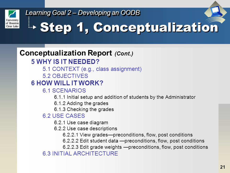21 Learning Goal 2 – Developing an OODB Step 1, Conceptualization 5 WHY IS IT NEEDED.