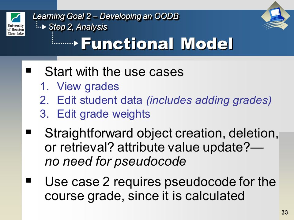33 Step 2, Analysis Learning Goal 2 – Developing an OODB Functional Model  Start with the use cases 1.View grades 2.Edit student data (includes adding grades) 3.Edit grade weights  Straightforward object creation, deletion, or retrieval.