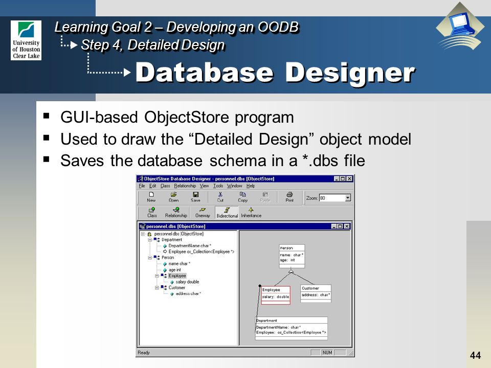 44 Step 4, Detailed Design Learning Goal 2 – Developing an OODB Database Designer  GUI-based ObjectStore program  Used to draw the Detailed Design object model  Saves the database schema in a *.dbs file
