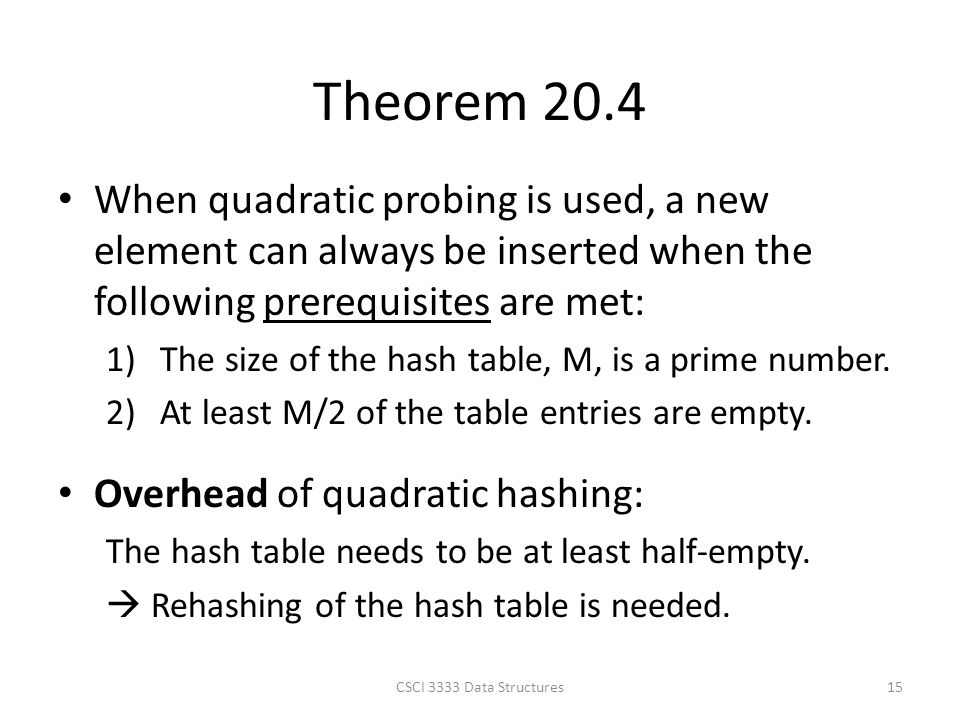 Theorem 20.4 When quadratic probing is used, a new element can always be inserted when the following prerequisites are met: 1)The size of the hash table, M, is a prime number.